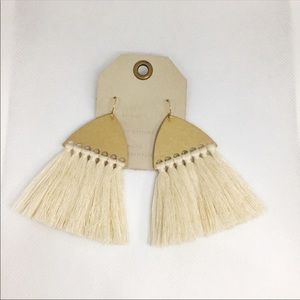 NWT Anthropologie Cream Tassels Earrings